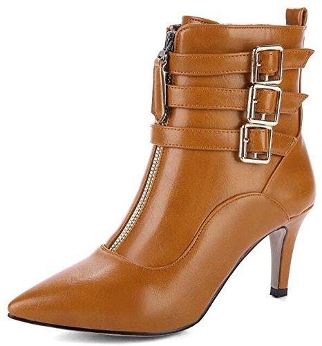 Idifu Kvinna Sexiga Mitten Stilettklackar Pekade Tå Spänne Boots Motor Tossor Med Dragkedja Brun