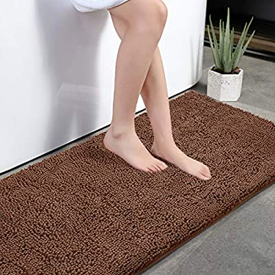 """KMAT Bath Mat Rug Nonslip Plush Chenille Bathroom mat Quick Absorbent 28"""" x 47"""" Coffee Large Bath Rug for Bathroom Floor Tub Shower Bedroom Living Room,Machine Washable - 【Machine Washed/Dried】Our KMAT 28 inch x 47 inch Bath Rug has been tested to have no color fading or no shedding issue after it is machine washed and machine dried multiple times.We use more expensive and more reliable anti-slip PVC rubber backing that would be much stronger and more durable built for long lasting use. 【Ultra Plush Shag】Our extra soft bathroom floor mat features luxurious soft piles of the plush fibers that make your feet feel extremely comfortable like walking in the cloud. This bath mat's bottom is embedded with 6mm thick high-density sponge. Largely,this bathroom mat can relieve your tired feet and shield your toes against the floor's coldness and hardness as well. 【Ultra Absorbent】Our bathroom shower rug does well in quick absorbent. High-pile and thick chenille fabric help dry your feet completely after a shower avoiding the water dripping around while you are stepping out from the bath,shower or getting ready by the sink. - bathroom-linens, bathroom, bath-mats - 51mzkjYV6AL. SS400  -"""