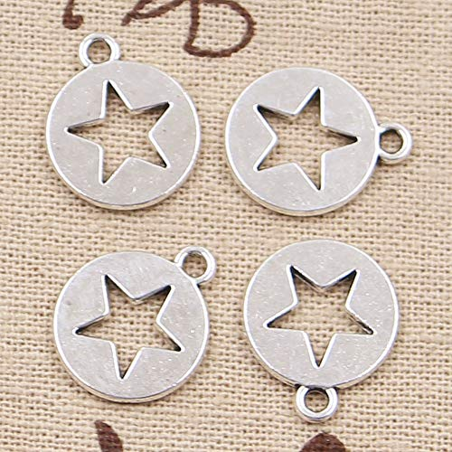 Value-Smart-Toys - 20pcs Charms hollow star cut out 15mm Antique Silver Plated Pendants Making DIY Handmade Tibetan Silver Jewelry - Special Gifts