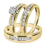 Smjewels Mens & Ladies 1/4 Ct Diamond Matching Trio Wedding Ring Set 14K Yellow Gold Fn