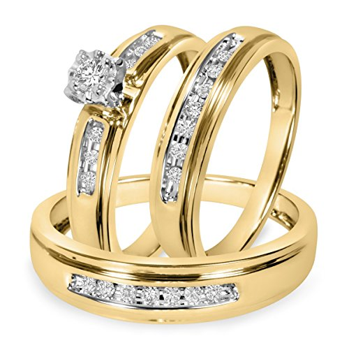 Smjewels Mens & Ladies 1/4 Ct Diamond Matching Trio Wedding Ring Set 14K Yellow Gold Fn by Smjewels