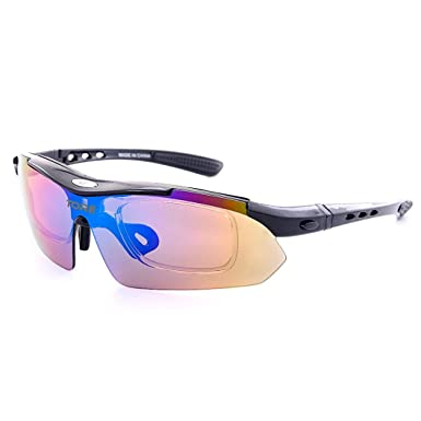 2a259b882202 Polarized Cycling Glasses Eyewear Bike Goggles Fishing Sunglasses Byste Outdoor  Sports Safety Eyes Protection Women Men Unisex Cool Wear (Black)  ...