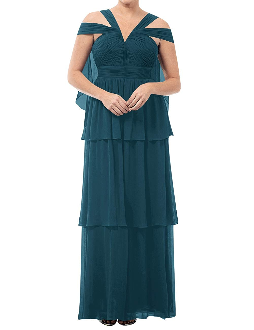 Teal Mother of The Bride Dresses VNeck Long Mother of Groom Dress Plus Size Evening Gowns