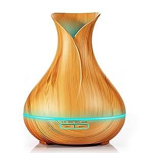 KBAYBO 400ml Difusor de Aroma Humectador de Aire Fresco de Niebla Difusor de Aceite Esencial ultrasónico Grano de Madera Cambio de 7 Colores Luz LED de Estado para el Yoga de Yoga en casa Dormitorio