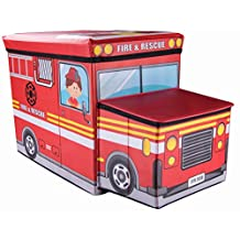 Kid's Fire and Rescue Emergency Truck Storage Box and Toy Organizer