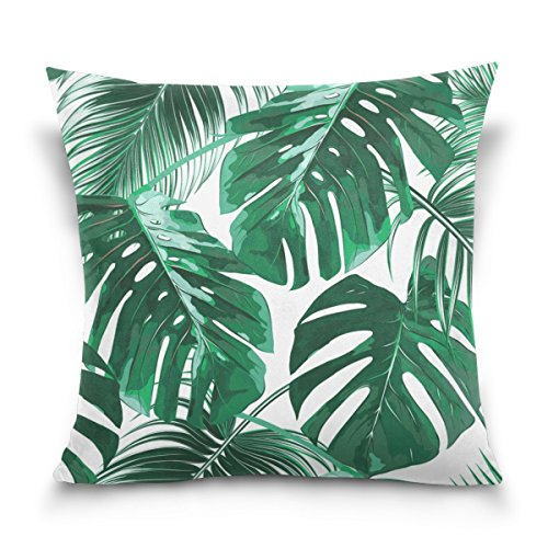 (ALAZA Double Sided Tropical Green Palm Leaves Cotton Velvet Square Pillow Slipcovers 20x20 Inch Decorative for Chair Auto Seat )