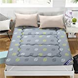 Lovehouse Thick Sleep Mattress Topper, Reversible Mattress Futon Japanese Tatami Floor mat Bedding Quilted Fitted pad for Home,Dormitory-Gray 90x200cm(35x79inch)