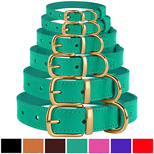 BronzeDog Leather Dog Collar Buckle Durable Pet Collars for Small Medium Large Dogs Puppy Cat Kitten Red Pink Purple Green Brown Black (Neck Size 15
