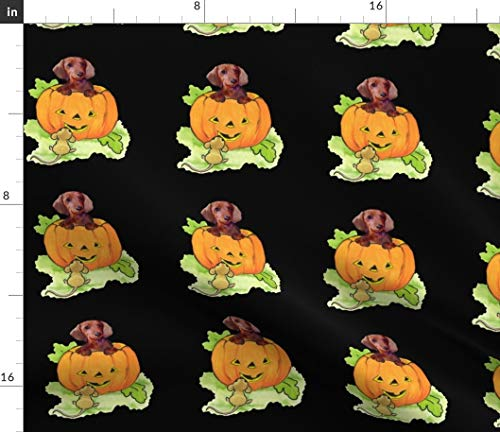 Spoonflower Hallowe En Fabric - Dachshund Pumpkin Fall Mouse Doxie Weiner Dog by Dogdaze Printed on Petal Signature Cotton Fabric by The Yard ()