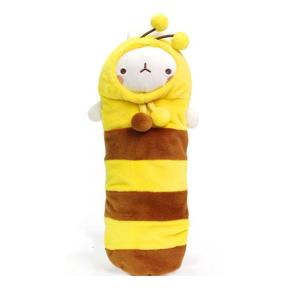 Molang Cute Rabbit Honey Bee, Soft Zipper Pouch Pencil Case Gift for Kids 10''