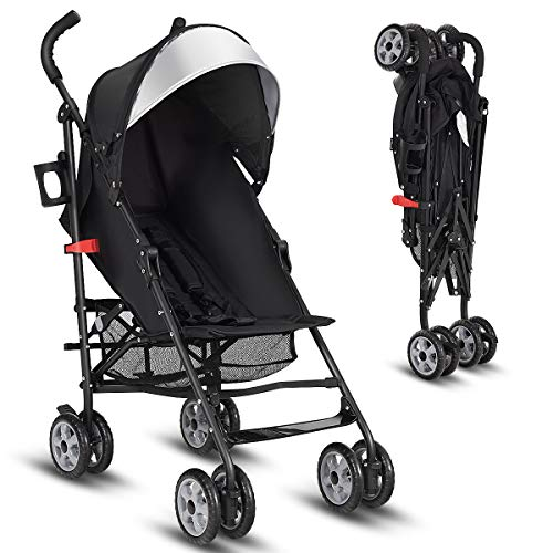 INFANS Lightweight Baby Umbrella Stroller, Foldable Infant Travel Stroller with 4 Position Recline, Adjustable Backrest, Cup Holder, Storage Basket, UV Protection Canopy, Carry Belt (Black)