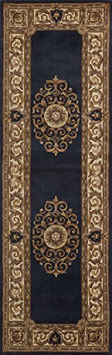 Momeni Rugs MAISOMA-08BLU2680 Maison Collection, 100% Wool Hand Carved & Hand Tufted Traditional Area Rug, 2'6