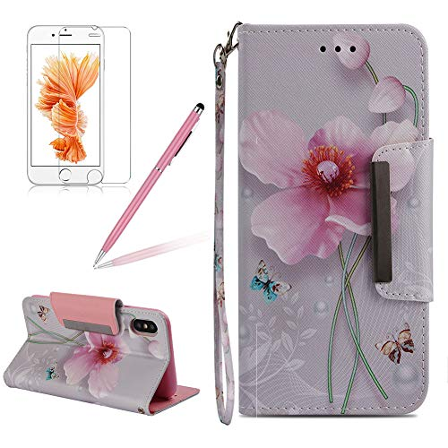 Girlyard Wallet Flip Case for iPhone XR, Pink Flower Butterflies Colorful Design Card Holder/Slots Folio Magnetic Kicktand PU Leather Protective Phone Case Cover for Apple iPhone XR 6.1 Inch