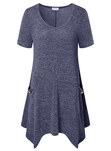Bulotus Tunic Tops for Leggings for Women-Perfect Legnth Casual Tee Shirt Gray,L