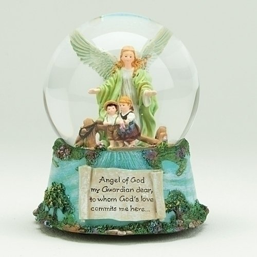 Roman Guardian Angel and Children 100MM Musical Water Globe Plays Tune Jesus Loves Me (Snowglobe Musical Angel)
