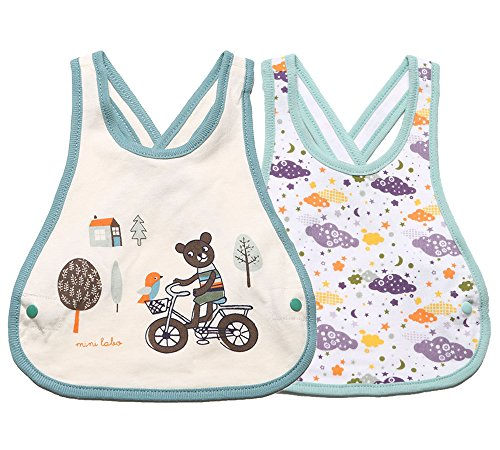 Meta-U 2 Pack Three Layers Baby Crossover Straps Apron Drool Bibs (Bear & Clouds)