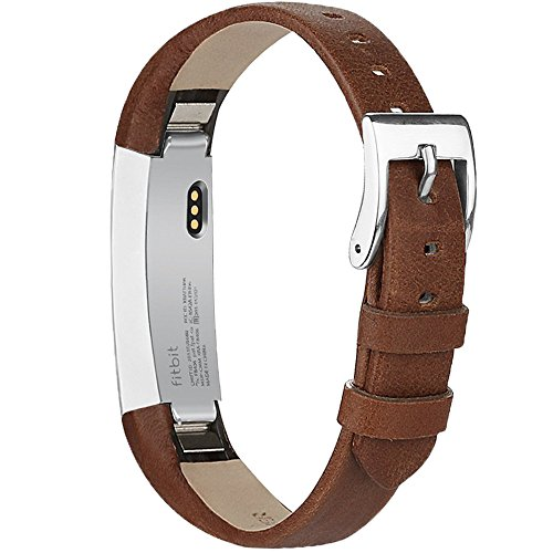 AK Bands Compatible Fitbit Alta/Alta HR, Adjustable Comfortable Leather Wristband Fitbit Alta HR 2017/Fitbit Alta (Coffee Brown)