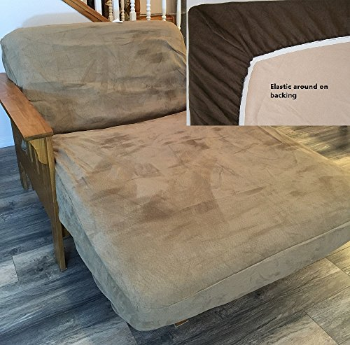 Twin Size Classic Micro Suede Elastic Backing Easy Fit Fitted Futon Cover Daybed Sofa Bed Cover (Peat)