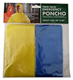 Reusable Unisex Hooded Lightweight Raincoat Emergency Poncho 50' x 80' TWIN PACK for Festivals, camping, Farming, Fishing by Lizzy (Blue & Yellow)