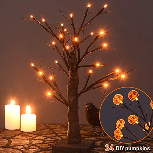 Diy Halloween Mantel Decor (Twinkle Star 24 LED Halloween Lighted Birch Tree Battery Operated with 24 DIY Pumpkins, Indoor Home Table Best Halloween)
