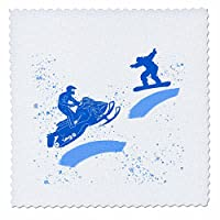 3dRose Alexis Design - Sport Winter - Snowmobile, snowboard, snow. Winter sport. Add your custom text - Quilt Squares