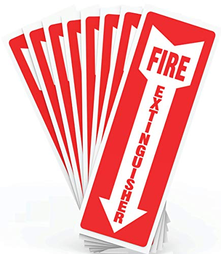 "Fire Extinguisher Signs, Safety Sign Sticker - 8 Pack - 4"" X 12"" - 5 Mil Vinyl - Bright Red and White Colors - Durable Self Adhesive, Weatherproof and UV Protected - Ideal for Home, Office or Boat"