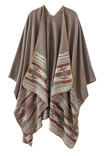 Urban CoCo Women's Color Block Open front Blanket Poncho (Camel)