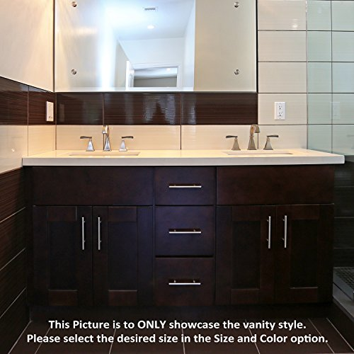 "Federation Vanities For Bathrooms: Espresso Shaker 60"" Vanity Double Sink Base With 3 Center"