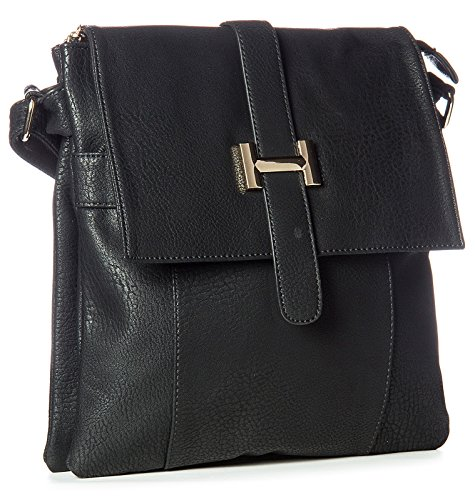 Medium Black Multipockets Womens Vegan Crossbody Handbag Z Big Seconds Bag Shoulder Shop Messenger TqwStaU7