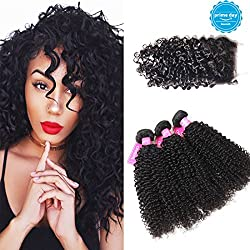 Original Queen 100% Brazilian Unprocessed Virgin Kinky Curly Human Hair Weave 3 Bundles With Closure Deep Curly Hair Extensions Mixed Length 10 12 14inches With 10inches Free Part Closure