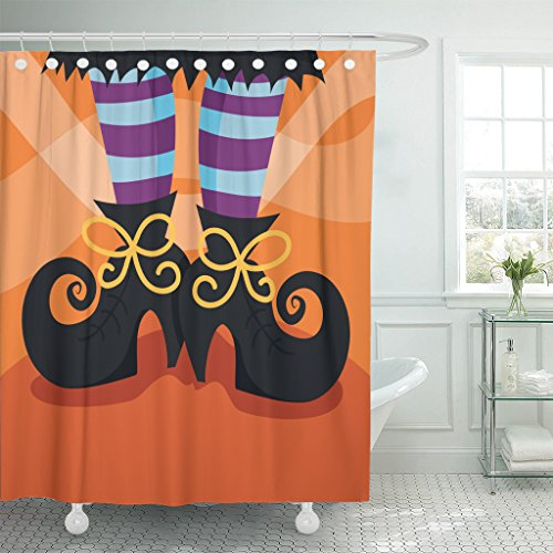 Emvency Shower Curtain Halloween Cartoon of Witch's Boots Foot Witch Whimsical Fun Waterproof Polyester Fabric 72 x 78 inches Set with Hooks ()