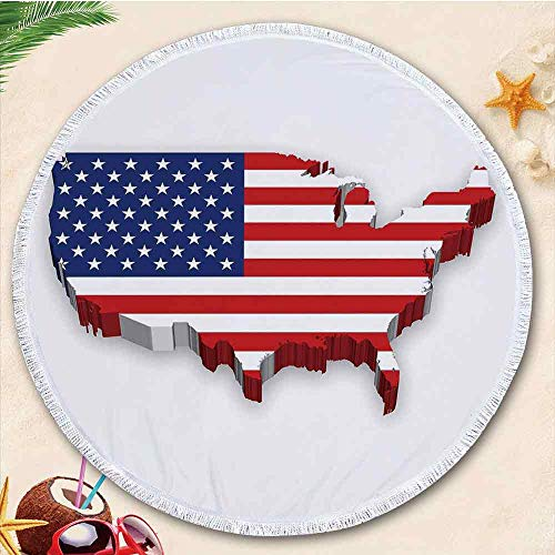 - YOLIYANA USA Map New Developed Thick Round Beach Towel Round Blanket 100% Microfiber Terry Cloth Quality with Tassels 70.87 Inches