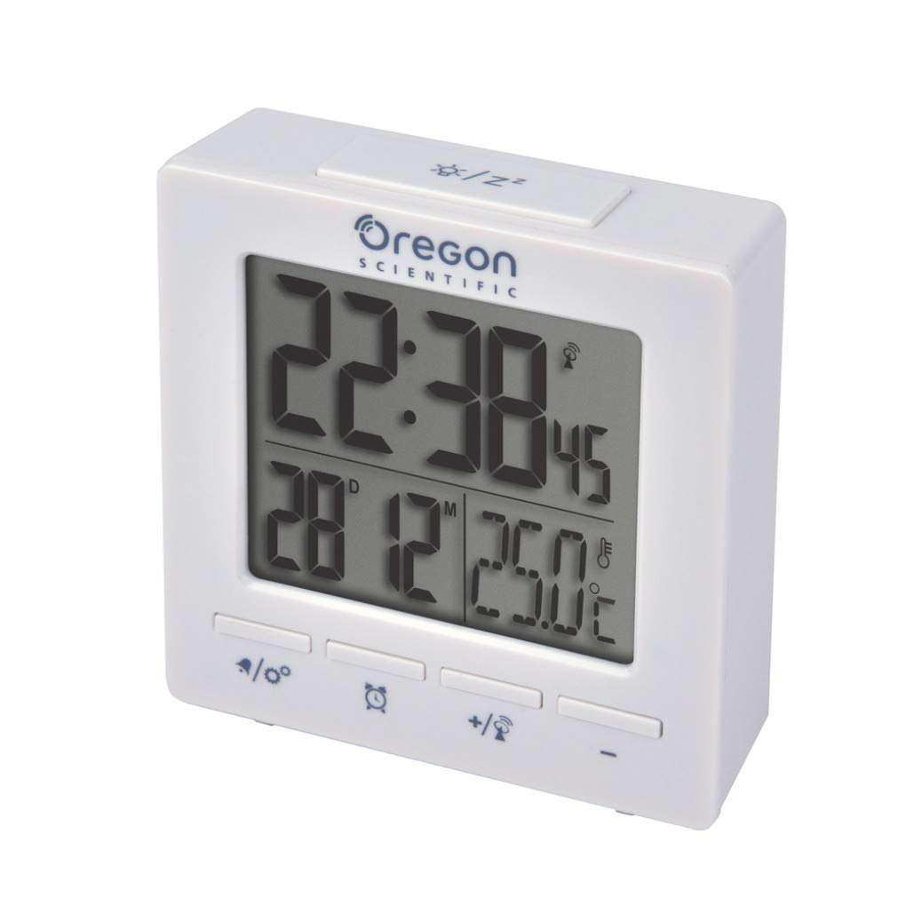 Oregon Scientific RM511, Reloj despertador digital con repetición snooze, fecha y temperatura interior, blanco