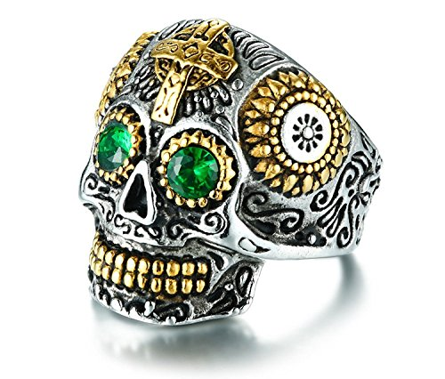 Rinspyre Men's Stainless Steel Silver Gold Gothic Cross Skull Ring Green Eye Vintage Flower Carved Halloween Size 14