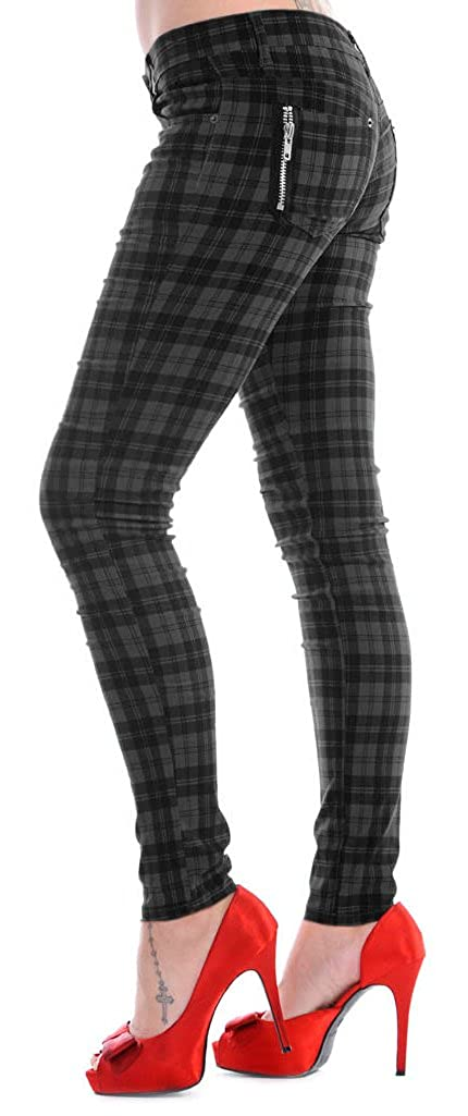 6044fa00cdc Banned Women s Grey Tartan Check Punk Rock Emo Skinny Jeans Pants Trousers  (UK Size 8 (Small))  Amazon.co.uk  Clothing