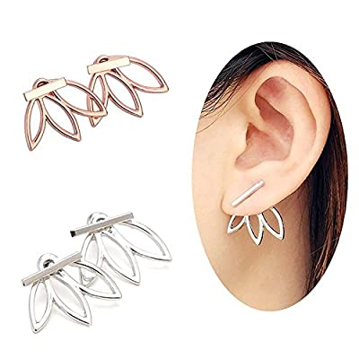 OREOLLE Lotus Flower Earrings lightweight Ear Cuffs Stud Earrings Jackets Elegant Fashionable (2 Pairs)