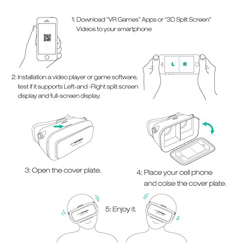 VR Headset TEPOINN Virtual Reality Headset for iPhoneX/ 8/ 8plus/7/7plus/6/6plus/6s/5, Samsung, LG & All Android Smartphone With Magnetic Front Cover, Adjust Strap by tepoinn (Image #6)