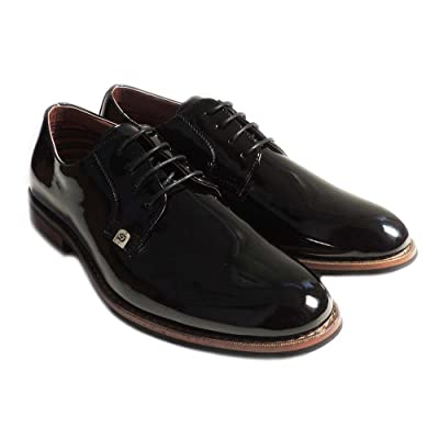 New Mens LACE UP Patent Oxfords Classic Leather Lined Dress Shoes Formal Black M19517PL (7.5)   Oxfords