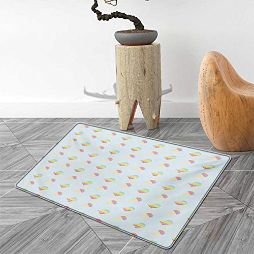 Ice Cream Door Mat Outside Pastel Colored Hipster Pattern with Abstract Ice Cream and Popsicles Summertime Bathroom Mat for tub Non Slip 5'x6' Multicolor