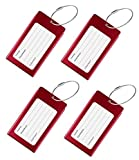 Luggage Tags, WeBravery Suitcase Labels Business Card Holder Travel Bag ID Metal Luggage Tag (4Pack-Red)