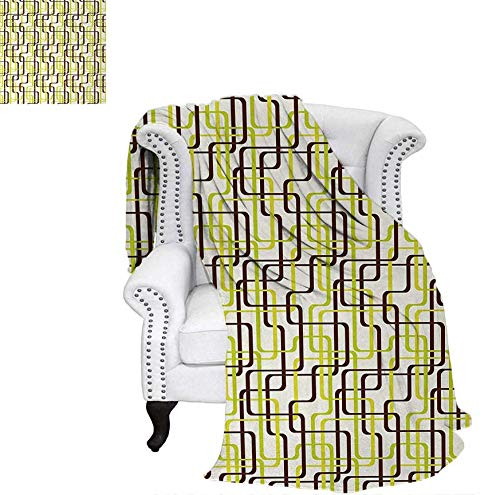 Super Soft Lightweight Blanket Sixties Fashion Inspired Intertwined Lines Stylish Shapes Oversized Travel Throw Cover Blanket 60