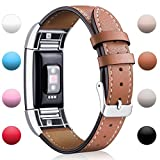Hotodeal Fitbit Charge 2 Replacement Bands , Classic Genuine Leather Wristband With Metal Connectors , Charge 2 Fitness Strap , Elegant Brown