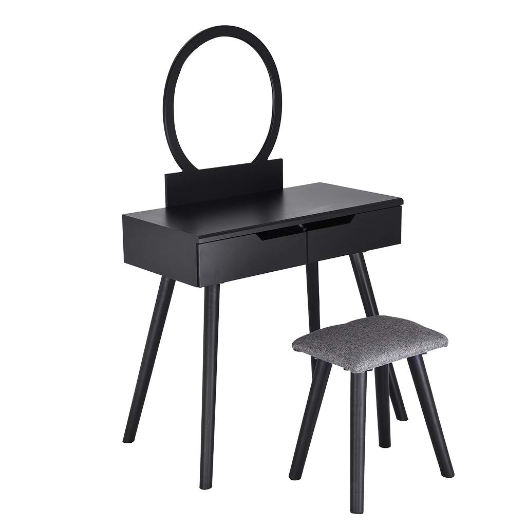 Sonmer Vanity Set with Mirror, Cushioned Stool, Storage Shelves, Drawers Dividers ,3 Style Optional, Shipped from US - Two Day Shipping (#2, Black)
