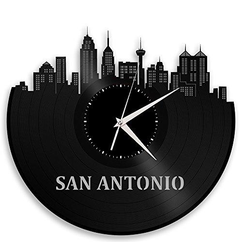 VinylShopUS - San Antonio Texas Vinyl Wall Clock City Skyline Souvenir ()