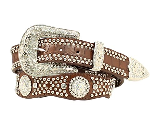 stone Embellished Croc Print Leather Belt Brown Medium (Leather Print Belt)