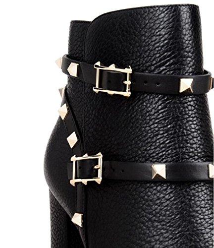 LINYI Las Botas De Mujer LINYI De Tacón Alto Con Hebilla De Metal Remachan Botines Cómodos Hechos A Mano En Otoño E Invierno Black