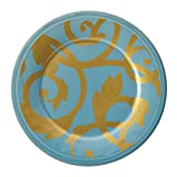 Rachael Ray Dinnerware Gold Scroll 8-Inch Salad Plate, Agave Blue