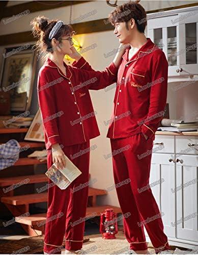 ペアルック カップル2着セット パジャマ レディース 長袖 可愛い ルームウェア 上下セット メンズ 前開きパジャマ レディース 夏 春 秋 部屋着 韓国風 寝間着 お揃い 赤 ペアパジャマ メンズ パジャマ 部屋着 結婚祝い
