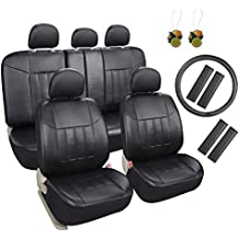 Leader Accessories Universal Car Interior Decor 17pcs Black Leather Seat Covers Set with Airbag for Truck SUV FREE Steering Wheel Cover / Seat Belt Covers