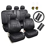 Leader Accessories 17 pcs Universal Fit Interior Decor PU Leather Car Seat Cover Set Black FREE Steering Wheel Cover and Air Fresheners